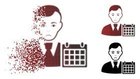 Icono de semitono del calendario del usuario de Pixelated de la chispa lamentable stock de ilustración