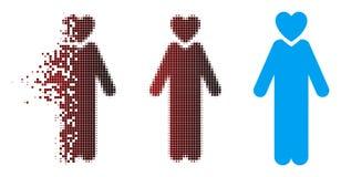 Icono de semitono del hombre del amante del pixel móvil stock de ilustración