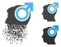 Icono de semitono de desaparición de la potencia del intelecto de Pixelated stock de ilustración