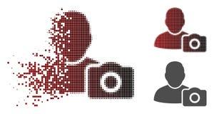 Icono de semitono descompuesto de la foto del usuario de Pixelated stock de ilustración