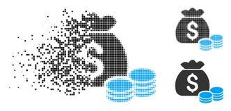 Icono de semitono destrozado del bolso del dinero de Pixelated stock de ilustración