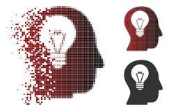 Icono de semitono destrozado del bulbo del intelecto del pixel ilustración del vector