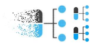 Icono de semitono destrozado de la distribución de la farmacia del pixel stock de ilustración