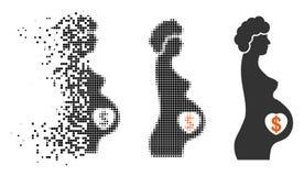 Icono de semitono destrozado de la madre sustituta del pixel ilustración del vector