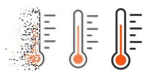 Icono de semitono hecho fragmentos del nivel de temperatura de Pixelated stock de ilustración