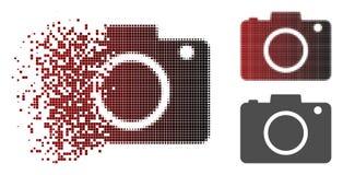 Icono de semitono punteado Destructed de la cámara de la foto stock de ilustración