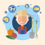 Icono de Senior Man Agriculture del granjero Ilustración del Vector