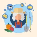 Icono de Senior Woman Agriculture del granjero Stock de ilustración