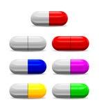 Icono de siete píldoras de la salud Fotos de archivo