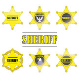 Icono de Stars del sheriff fijado en el fondo blanco Imagenes de archivo