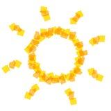 Icono de Sun con los pequeños pedazos Imagen de archivo libre de regalías