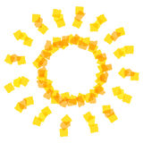 Icono de Sun hecho por los pedazos anaranjados Foto de archivo