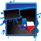 Icono de Tejas en anuncio de semitono azul y negro del grunge Imagenes de archivo