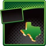 Icono de Tejas en anuncio de semitono verde y negro Fotografía de archivo