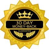 Icono de treinta días de la etiqueta del oro del reembolso del dinero Stock de ilustración