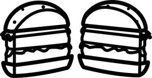 Icono de un corte de la hamburguesa por la mitad con la ensalada con queso y la chuleta stock de ilustración