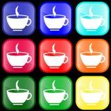 Icono de una taza en los botones Foto de archivo