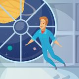Icono de Weightless Space Cartoon del astronauta Imagenes de archivo