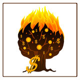 Icono del árbol ardiente del dinero Imagen de archivo