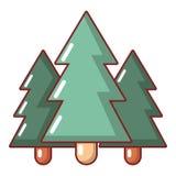 Icono del árbol de abeto, estilo de la historieta Foto de archivo libre de regalías