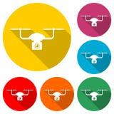Icono del abejón de Quadrocopter, icono del color con la sombra larga Foto de archivo libre de regalías