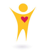 Icono del abtract de la gente y del corazón (rojo y anaranjado) Imagenes de archivo