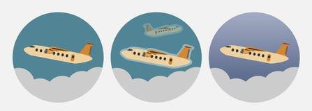 Icono del aeroplano del turbopropulsor del pasajero del vintage Foto de archivo