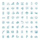 Icono del agua fijado en la línea estilo fina Símbolo del vector stock de ilustración