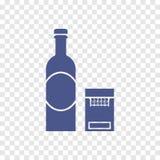 Icono del alcohol y de los cigarrillos Fotografía de archivo libre de regalías