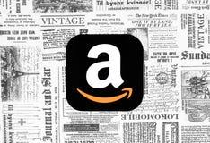 Icono del Amazonas en fondo retro del periódico ilustración del vector
