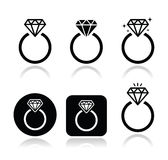 Icono del anillo de compromiso del diamante Fotos de archivo libres de regalías