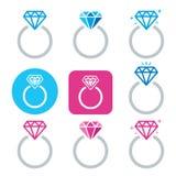 Icono del anillo de compromiso del diamante - el día de tarjeta del día de San Valentín Foto de archivo