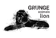 Icono del animal de Lion In Grunge Design Style de la silueta Fotos de archivo