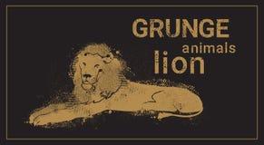 Icono del animal de Lion In Grunge Design Style de la silueta Imágenes de archivo libres de regalías