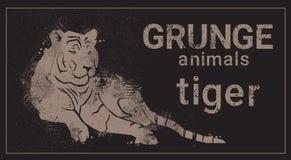 Icono del animal de Tiger In Grunge Design Style de la silueta Fotos de archivo libres de regalías