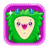Icono del App con el monstruo mullido del verde divertido de la historieta Imagen de archivo