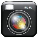 Icono del App con la lente de cámara y la luz del flash stock de ilustración