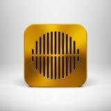 Icono del App de la tecnología con textura del metal del oro Imagenes de archivo