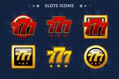 Icono del app de las ranuras 777, objetos brillantes para el juego del activo y GameTwist Fotografía de archivo