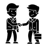 Icono del apretón de manos de los hombres de negocios, ejemplo del vector, muestra negra en fondo aislado libre illustration