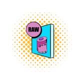 Icono del archivo raw en estilo de los tebeos Fotografía de archivo libre de regalías