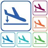 Icono del avión de aterrizaje de la salida simple Foto de archivo libre de regalías