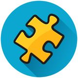 Icono del azul del círculo del rompecabezas ilustración del vector
