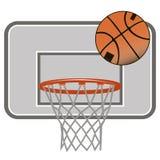 Icono del baloncesto La bola vuela en el carro Imagen de archivo