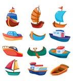 Icono del barco de la historieta Imagenes de archivo
