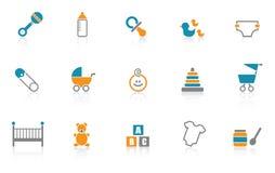 Icono del bebé fijado - azul stock de ilustración