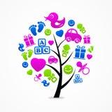 Icono del bebé del árbol del extracto del negocio del logotipo Fotos de archivo