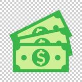 Icono del billete de banco de la moneda del dólar en estilo plano Vector del efectivo del dólar stock de ilustración