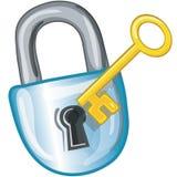 Icono del bloqueo y del clave Fotografía de archivo