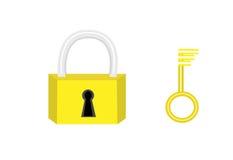 Icono del bloqueo y del clave Fotografía de archivo libre de regalías
